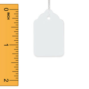 Strung Merchandise Tags In White Finish 7 8 W X 1 5 16 H Inch 1000 Per Box