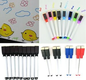 8 Colour Magnetic White Board Markers Pens Black Dry Eraser Easy Wipe Whiteboard