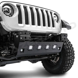 Rock Crawler Front Bumper Skid Plate 4xled Mount Hole For 18 19 Jeep Jl Wrangler