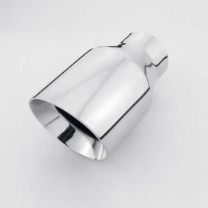 2 5 Inlet Exhaust Tip 4 Outlet Dual Wall Slant Cut Round 304 Stainless Steel