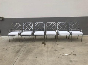 Set Of 6 Design Institute America Chrome Chinese Chippendale Dining Armchairs