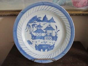 Antique Chinese Export Canton Blue White Porcelain Plate