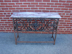 Vintage Wrought Iron Marble Top Console Entry Sofa Table