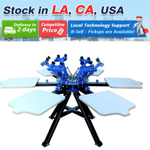 Usa 6 Color Screen Printing Press 6 Station Printer Double Rotary Print Machine