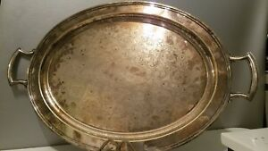 Vtg Barbour Silver Co Butler S Footed Silver Plated Tray 26 X 17 Bscep 19th C