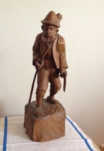 Man With Hat Walking Stick Full Figure Carved Wood Black Forest Swiss Antique