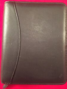 Franklin Covey Compact Size Planner 6 Ring Black Binder W Pockets
