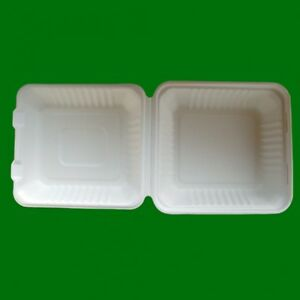 8 Eco friendly Clamshell Hinged Container Food Box Take Out To go 20 200pcs