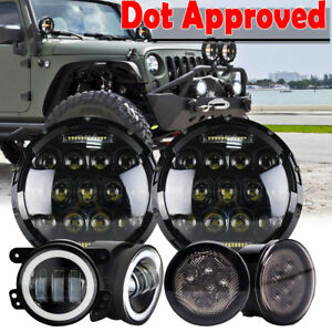 For Jeep Wrangler Kit 7 Led Headlight Turn Signal Light Fog Lamp Dot Approved