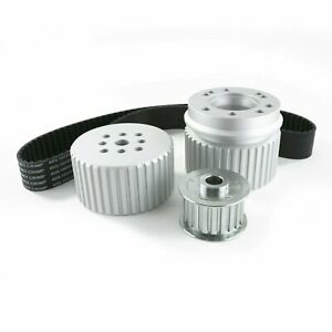 Chevy Small Block Sbc Long Water Pump Gilmer Style Pulley Kit Silver