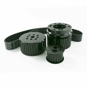 Chevy Small Block Sbc Long Water Pump Gilmer Style Pulley Kit black