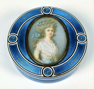 Guilloche Enamel Trinket Box Silver Vermeil Attr Circle Of Faberg France Xix