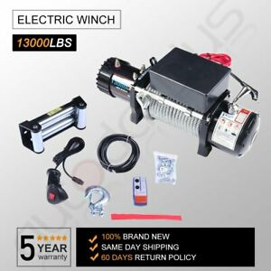 13000lbs Electric Winch 12v Steel Cable Offroad For Jeep Truck Towing Trailer