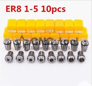 10pcs Er8 1mm To 5mm Precision Collet Chuck Set Spring Collet Chuck For Cnc