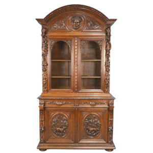 The Best 19th C French Louis Xiii Carved Oak Hunting Gun Cabinet Hound