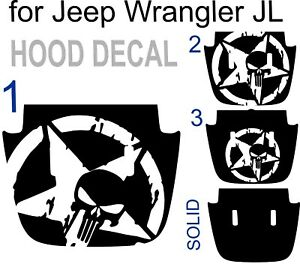 Us Army Star Punisher Hood Decal Sticker For Jeep Wrangler Jlu Jl Military