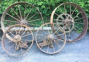 4 Antique John Deere Steel Spoke Wheels Steampunk Industrial Hit