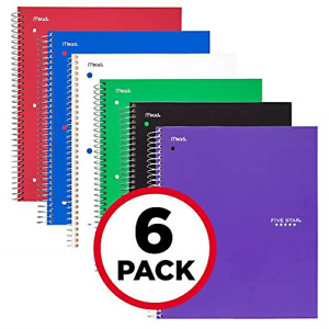Five Star Spiral Notebooks 5 Subject College Ruled Paper 200 Sheets 11 X 6