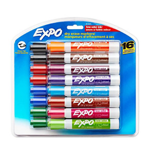 Expo Assorted Colored Chisel Tip Dry Erase Markers 16 count Case Of 6 Packs