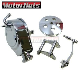 Sbc Chevy Chrome Saginaw Power Steering Pump Brackets Aluminum Pulley 1 Groove