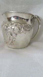 Antique Simons Bros Co Sterling Silver Chased Repousse Baby Cup Over 3oz Euc
