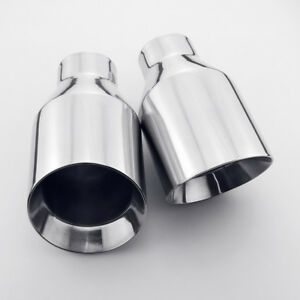 Pair 2 25 Inlet 4 Outlet Round Exhaust Tips Angle Cut 304 Stainless Steel