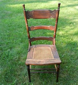 Antique Vintage Pressed Back Oak Kitchen Dining Chair Canned Seat Size 17 3 4 W