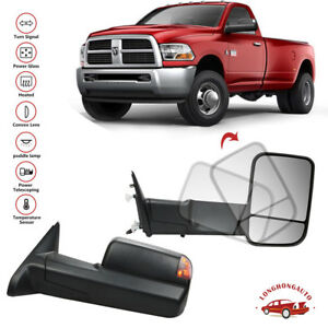 Pair Power Fold Heated Tow Mirrors Turn Signal W Temp Puddle For 09 17 Dodge Ram