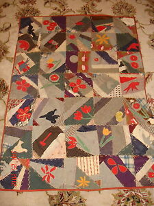 Antique Texas Civil War Era Crazy Quilt Child Applique Flowers Animals Wool
