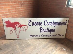 E ncore Consignment Boutique Women s Clothing Shop Store Sign Huge 28 X 76