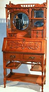 Desk Secretary Curio Top Solid Curly Ash Cowgirl Aesthetic C1880 67 T