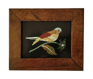 Handmade Colorful Bird Inlayed On Marble Pietra Dura Plaque Micro Mosaic Framed