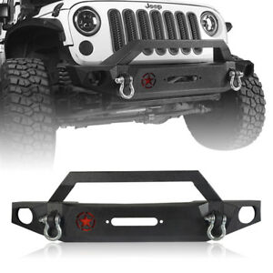 Textured Mid Front Bumper W 2 D Rings For 07 18 Jeep Wrangler Jk