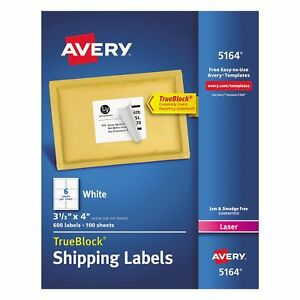Avery 5164 Laser Shipping Labels 3 1 3 X 4 White 600 Labels best Price