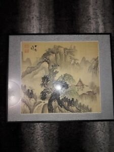 Vintage Antique Chinese Handpainted Stamped Silk Painting Of Yangtze River