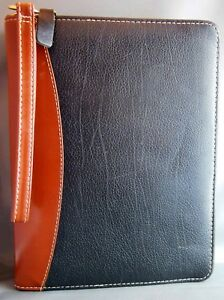 Franklin Covey Planner Binder Classic Size Black Tan Verona Leather Usa Made