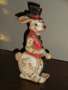 Vintage Cast Iron Door Stop Rabbit With Top Hat