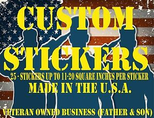 25 custom Printed Full Color Vinyl Car Bumper Sticker Logo Decal up To 40 Sq In
