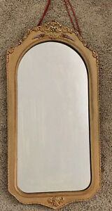 Antique Vintage Victorian Wall Mirror Flower Gesso Wood Frame Old