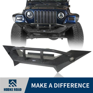 Hooke Road Front Bumper W Winch Plate Textured Iron For Jeep Wrangler Tj 97 06