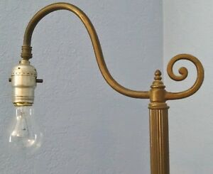 Antique Brass Metal Bridge Arm Swivel Light Art Deco Floor Lamp 56 Inch