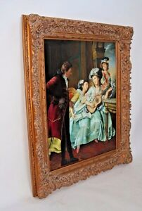 Huge Vintage Gilt Gold Ornate Wood Gesso Picture Oil Painting And Mirror Frame