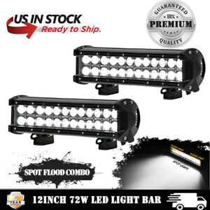 2x 12 Inch 72w Cree Led Light Bar Flood Spot Offroad Work Lights 4wd Truck Atv