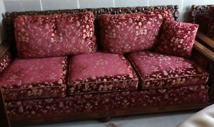 Rare Antique French Carved Oak Renaissance Barley Twist Sofa Chair Upholstered