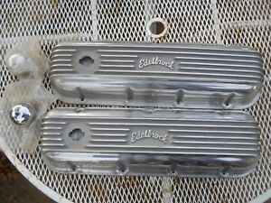 Edelbrock 4185 Classic Finned Polished Big Block Chevy Bbc Valve Covers