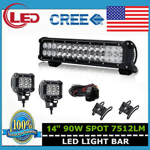 14inch 90w Led Light Bar Spot Strobe Driving Lamp With Wiring Kit