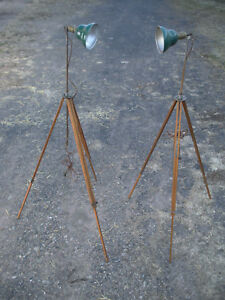 Pair 2 Vintage Antique Industrial Adjustable Wood Tripod Lamps Green Shades