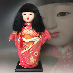 Japanese Ichimatsu Gofun Doll In Glass Eyes With Kimono Ningyo Girl Doll