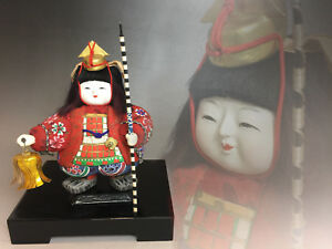 Japanese Kimekomi Gofun Doll With Wooden Box 7 Inch Samurai Doll Boy Ningyo