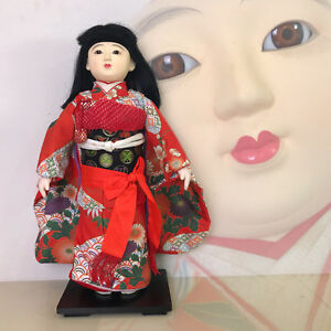 Japanese Ichimatsu Gofun Doll In Glass Eyes With Kimono Ningyo Vintage Girl Doll